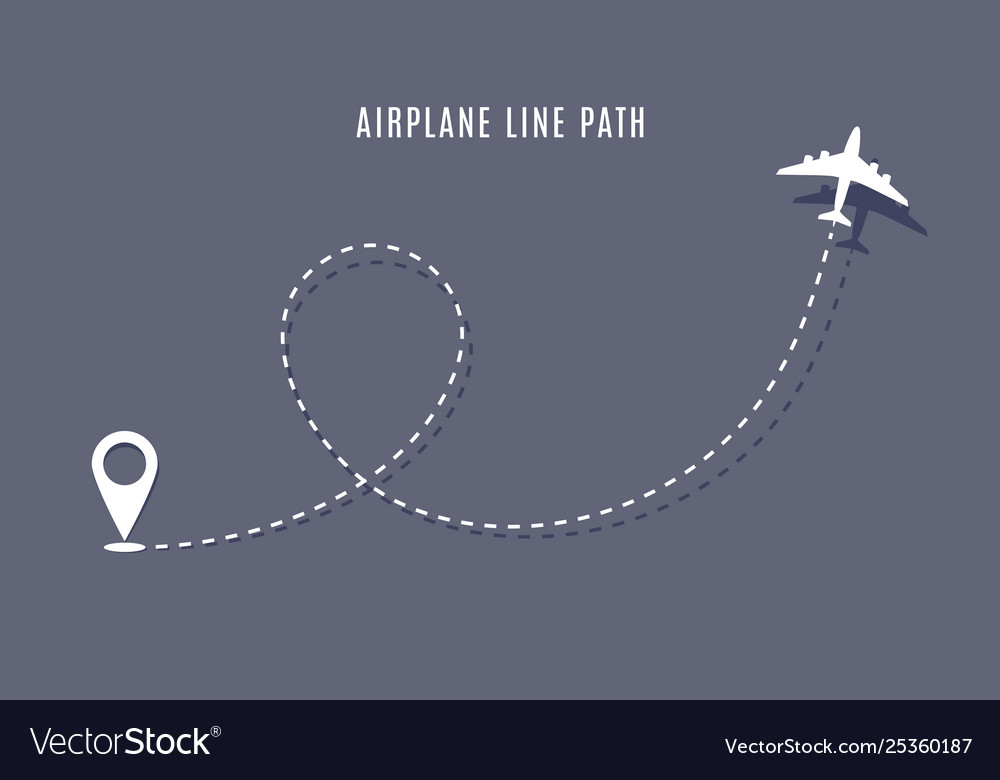 Airplane route path icon plane flight line