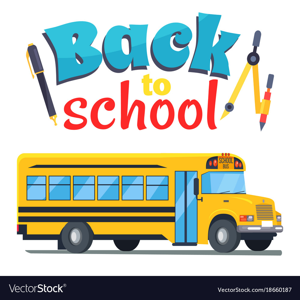 Back to school sticker with bus isolated on white vector image