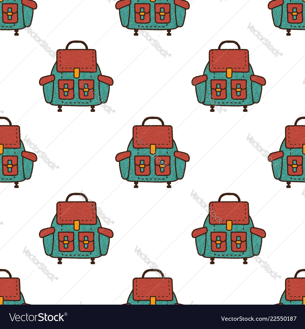Backpack flat seamless pattern rucksack symbols
