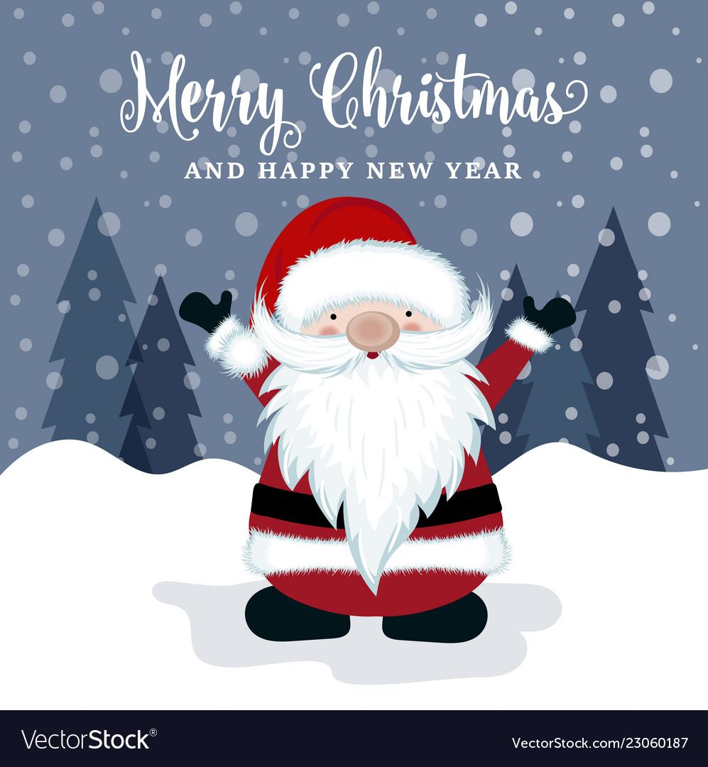 Beautiful Christmas Card With Santa
