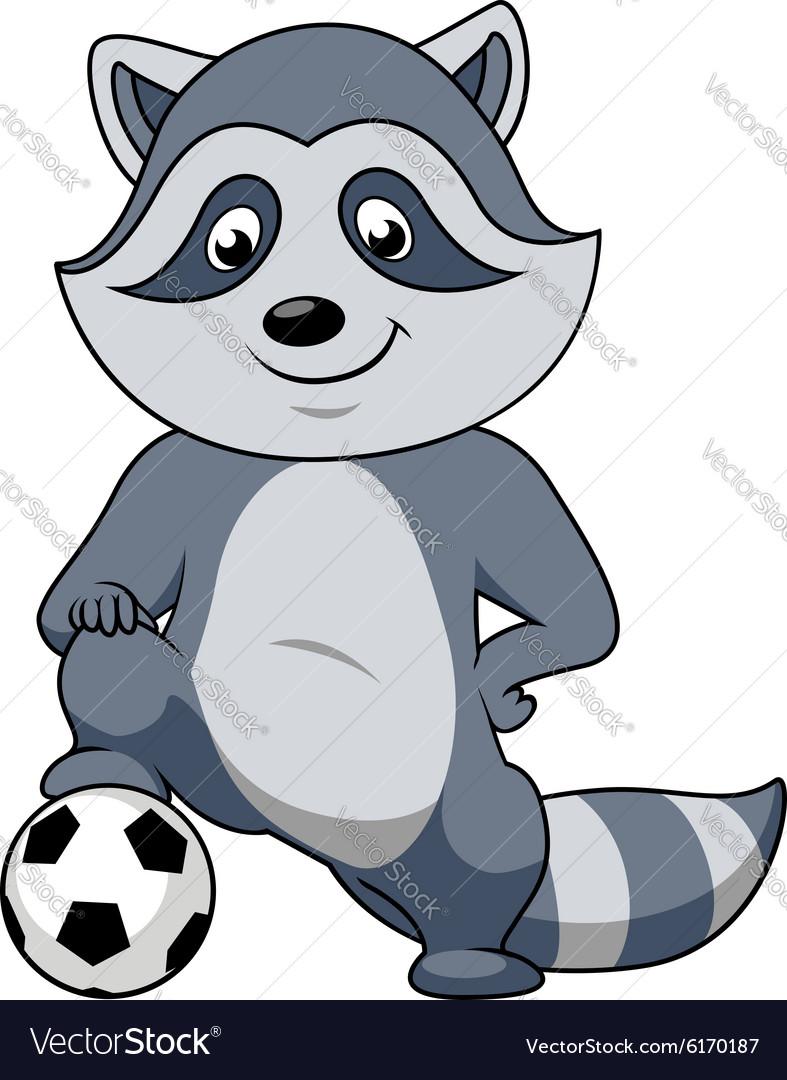 Cartoon raccoon player with soccer ball vector image