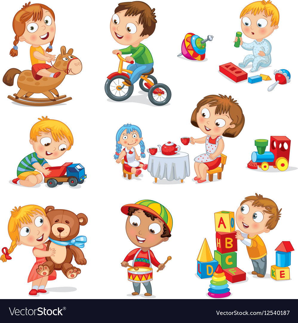 Children Play With Toys Royalty Free Vector Image