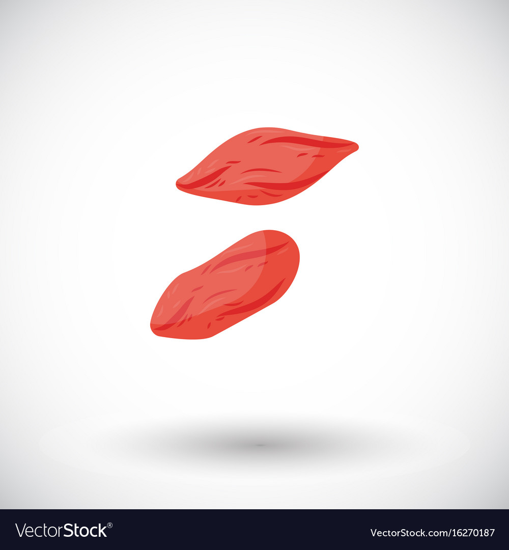 Dried goji berries flat icon vector image