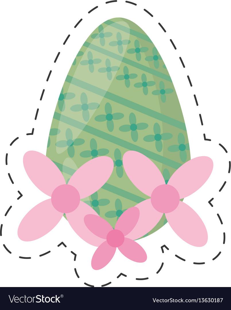 Easter green egg flower - cut line vector image