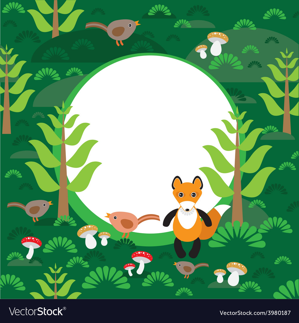 Fox background green forest with fir trees
