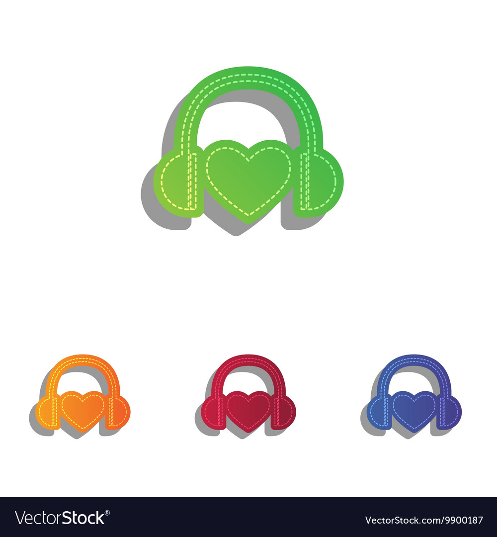 Headphones with heart Colorfull applique icons