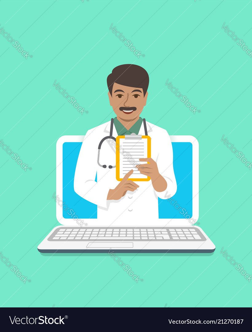 Indian man doctor online consultation concept