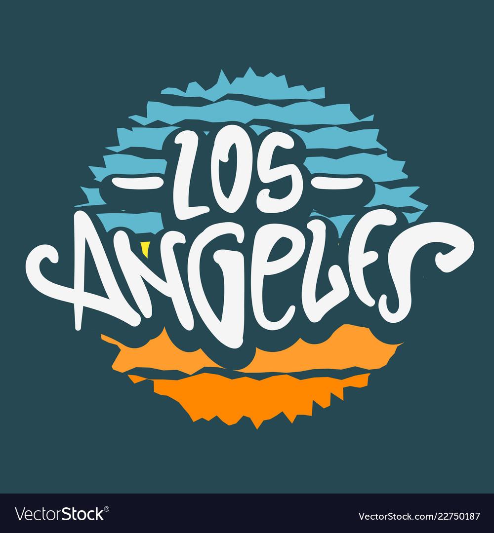 Los angeles california label sign logo hand dra