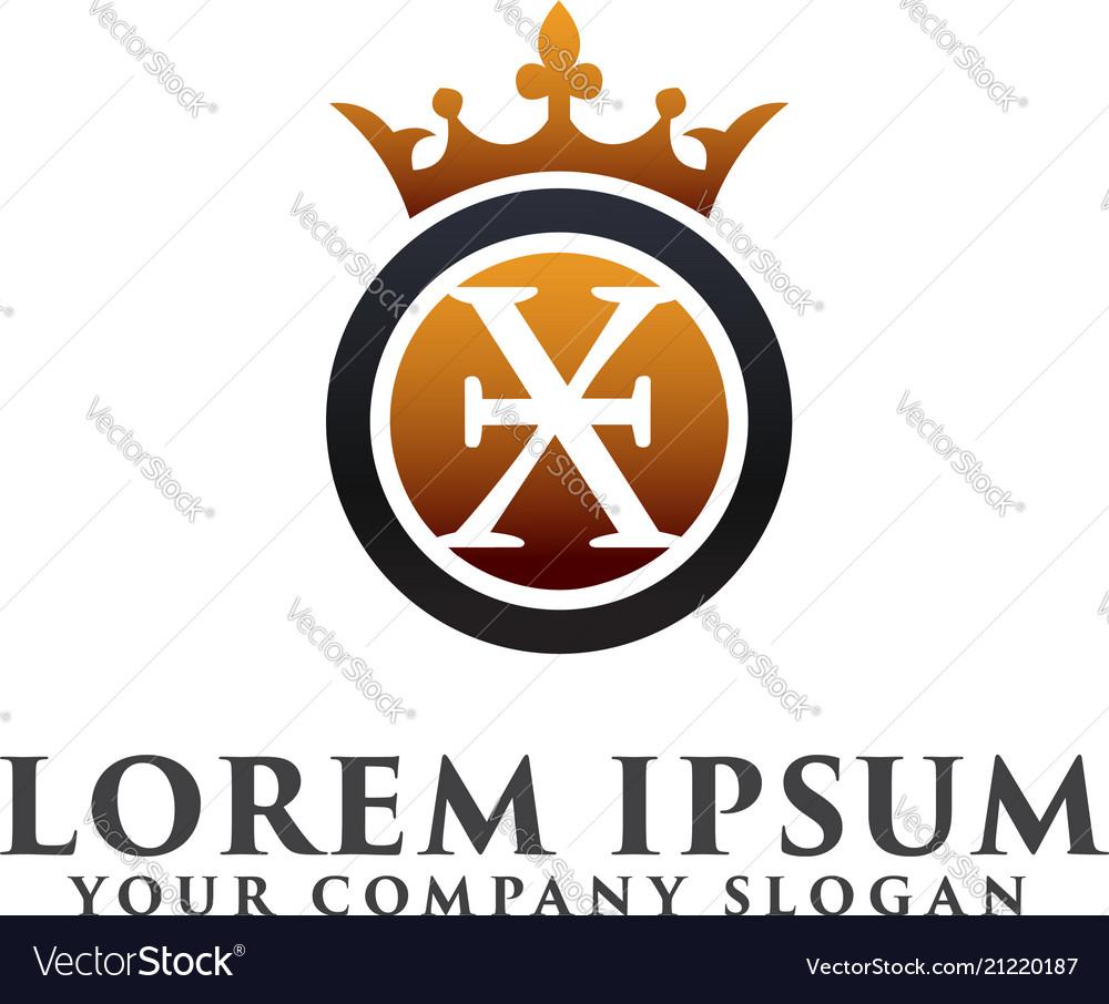 Luxury letter x with crown logo design concept vector image