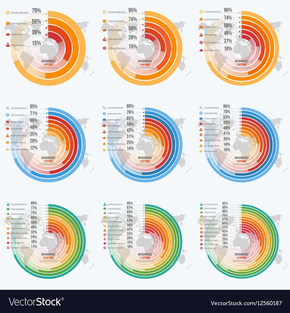 Set of circle informative infographics