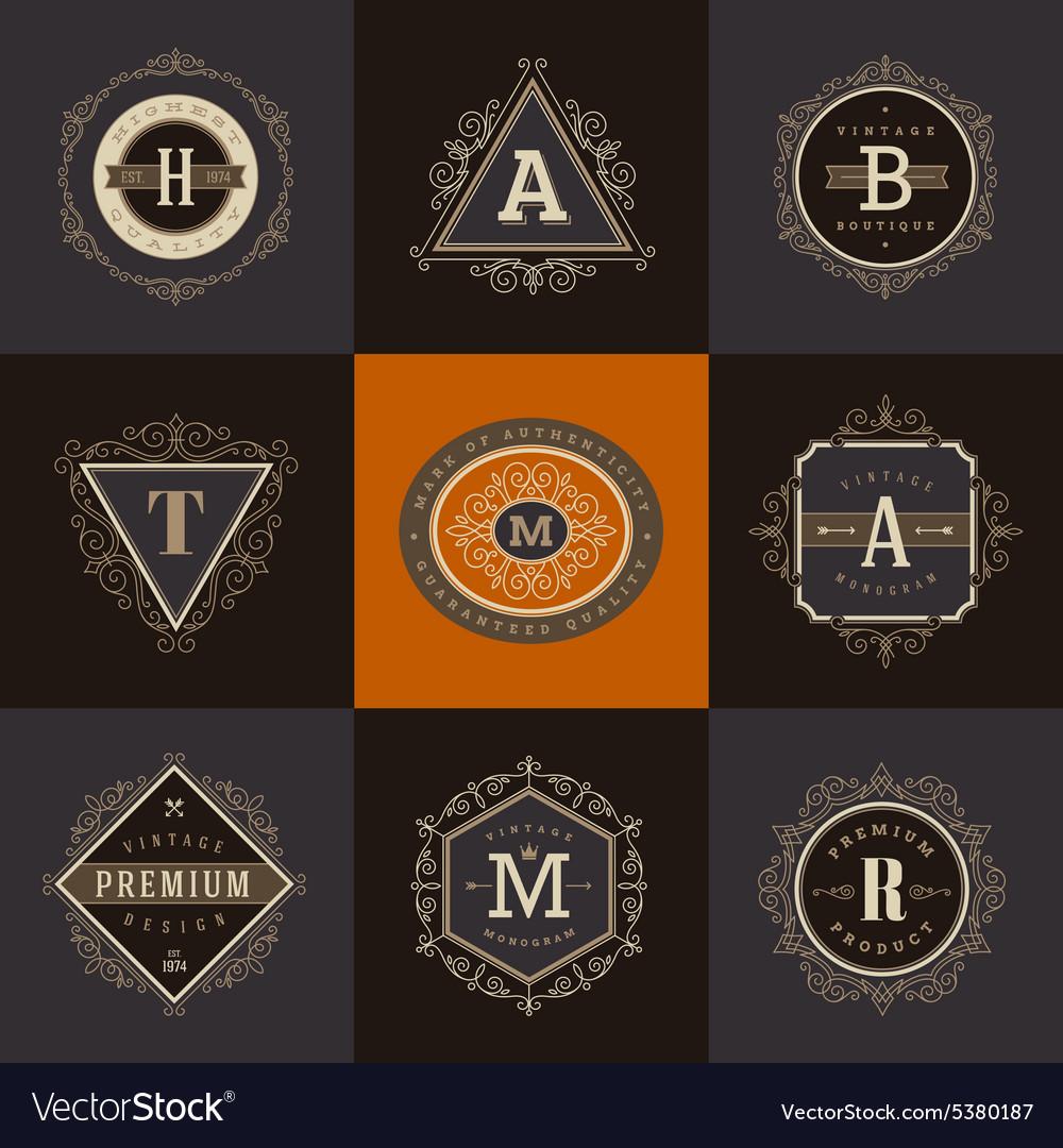 Set of Monogram logo template