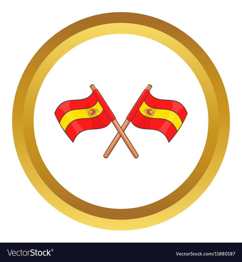 Spain crossed flag icon vector image