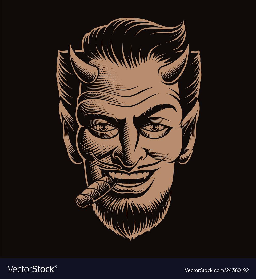 A devil face smoking a cigar