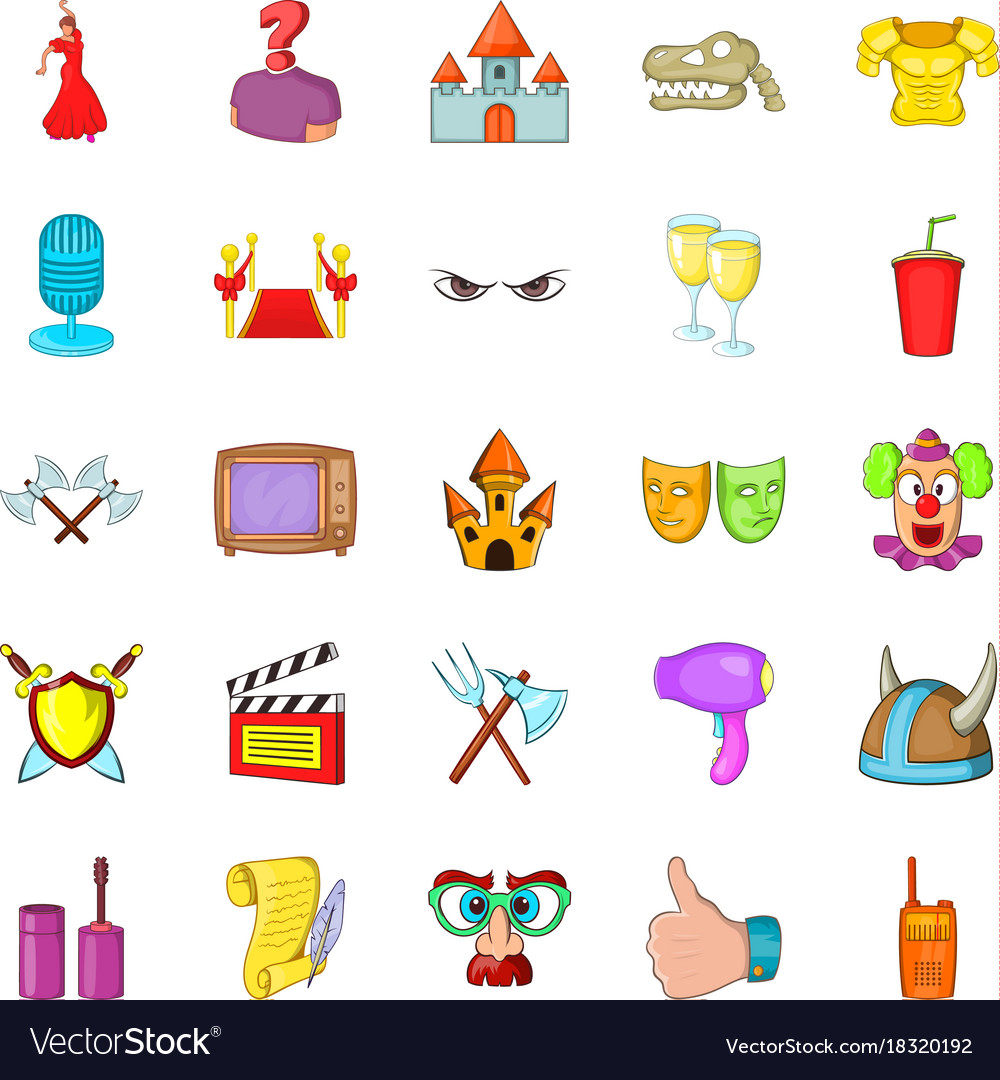 Acting skill icons set cartoon style vector image