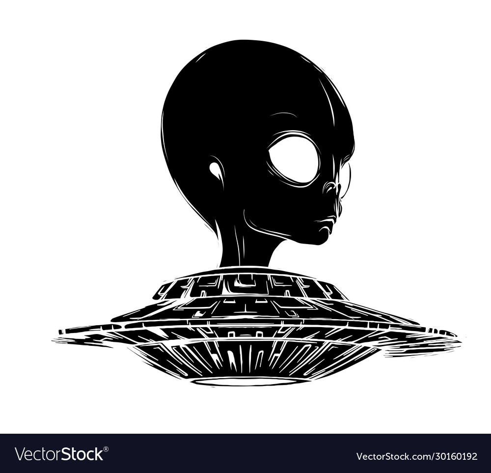 Alien is sitting in a flying saucerhand drawn