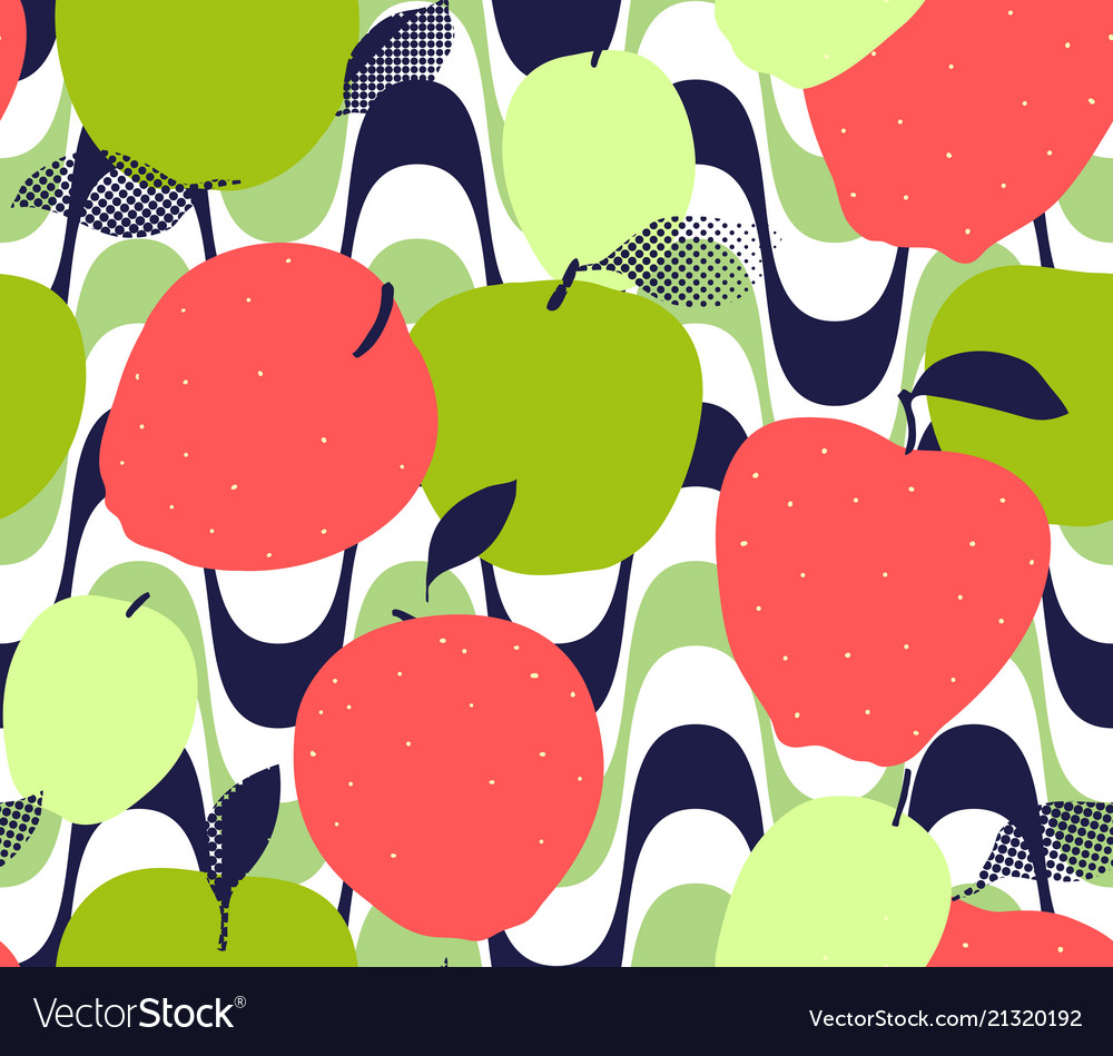 Apple fruits seamless pattern red green and