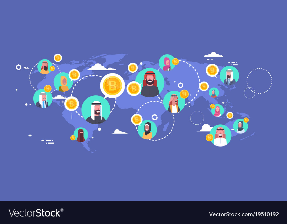 arab people mining bitcoins over world map modern vector image