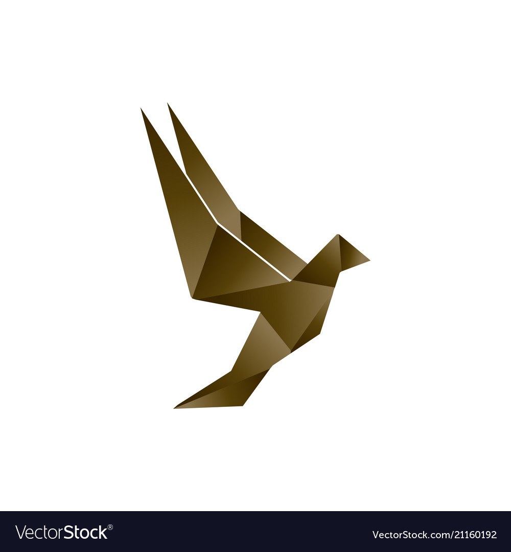 brown low poly bird template royalty free vector image