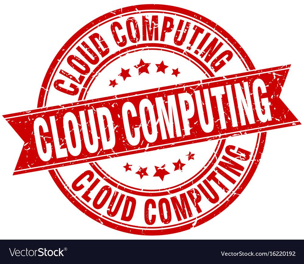 Cloud computing round grunge ribbon stamp