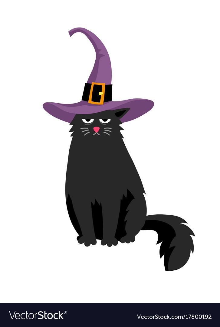Cute Black Cat In Halloween Hat