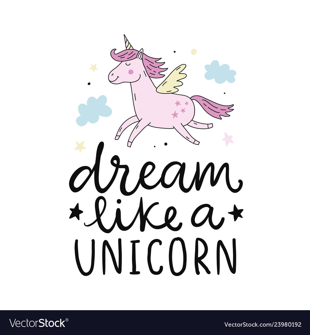 Cute unicorn hand lettering poster Royalty Free Vector Image