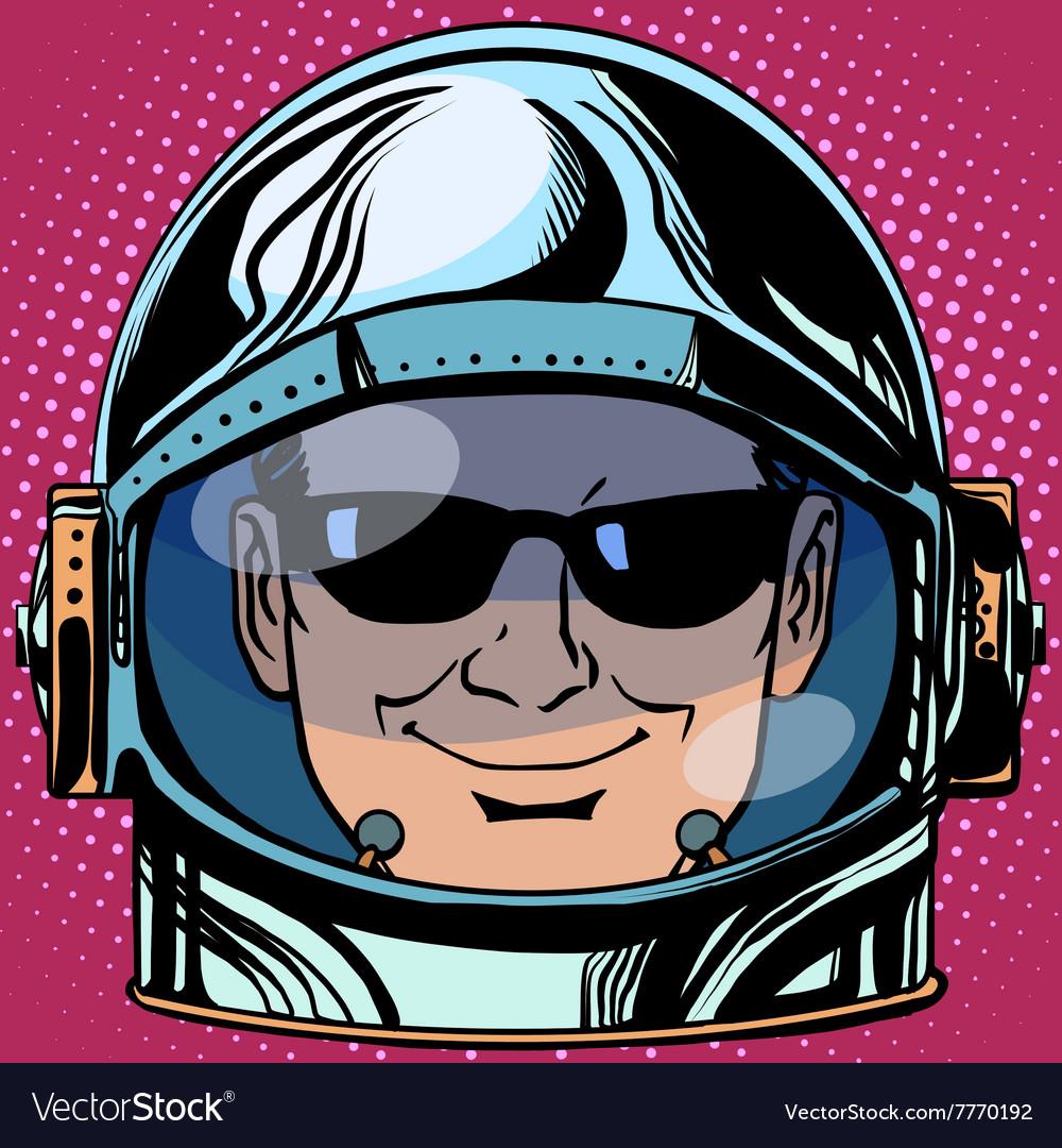 Emoticon spy Emoji face man astronaut retro vector image