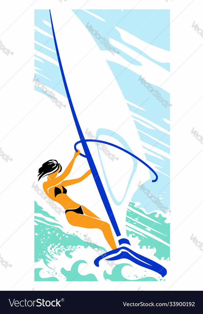 Girl with black hair on a sailing board