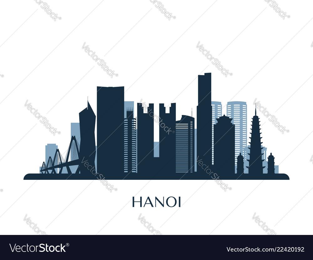 Hanoi skyline monochrome silhouette