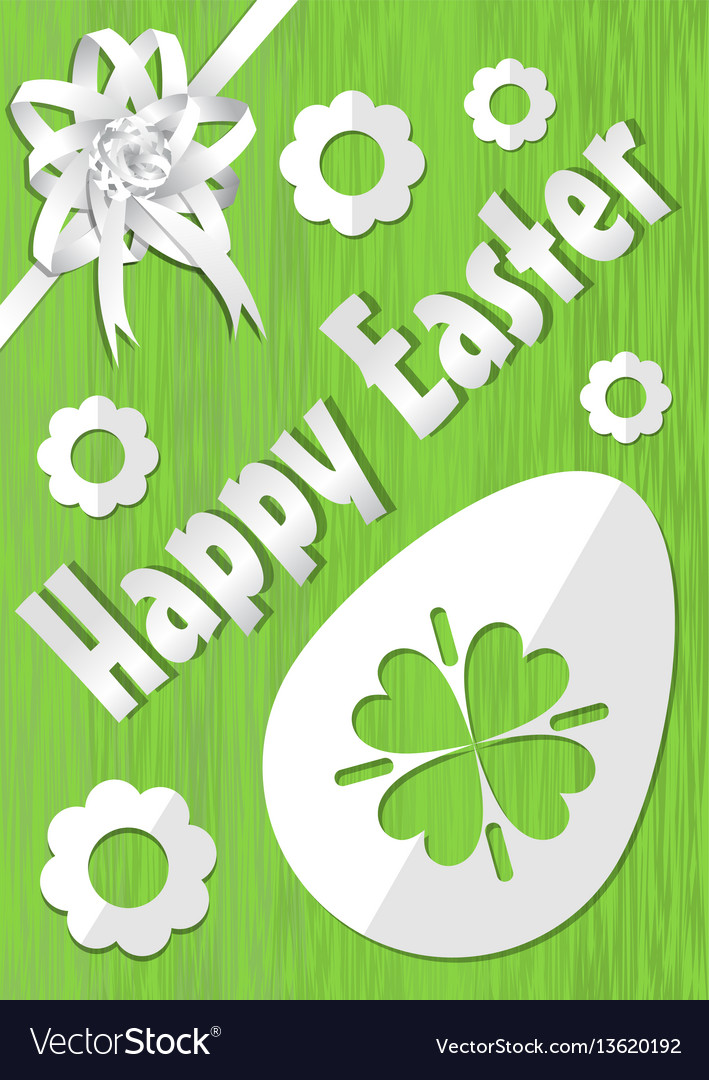 Happy easter poster with white paper cuted egg