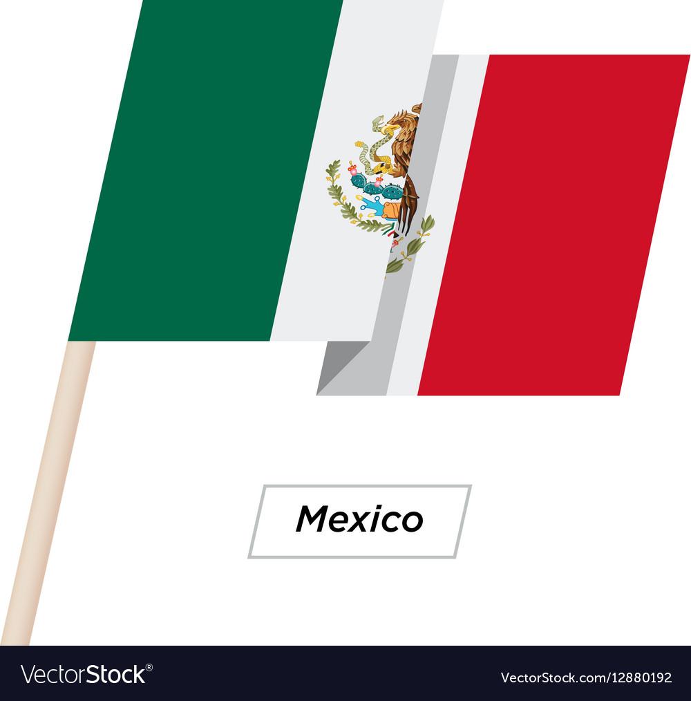 Mexico Ribbon Waving Flag Isolated on White