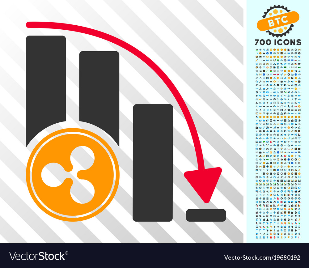 Ripple falling acceleration chart flat icon with