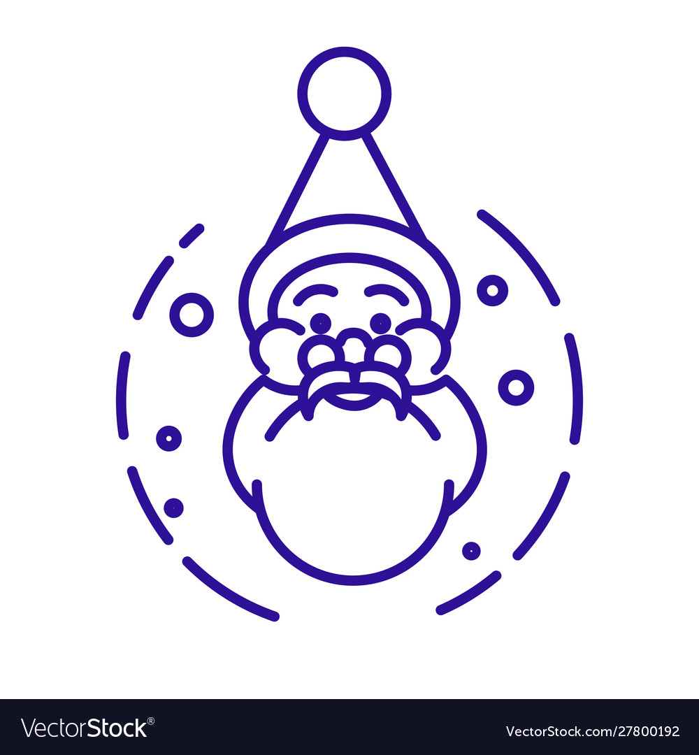 Santa claus head with beard and hat linear icon