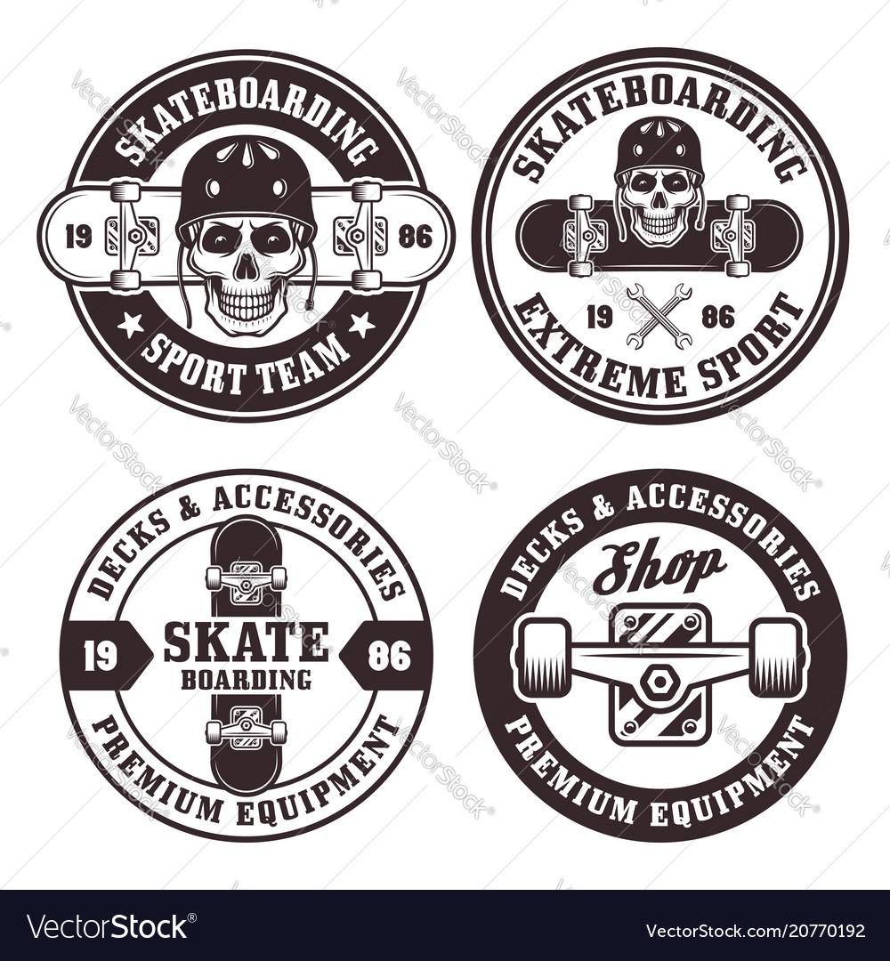 Skateboarding set four round badges