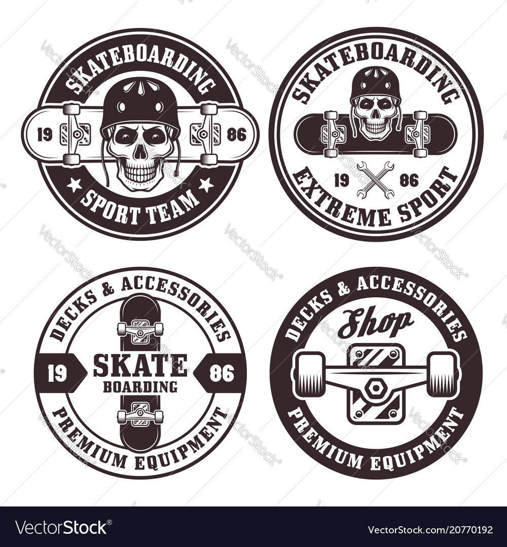Skateboarding set of four round badges