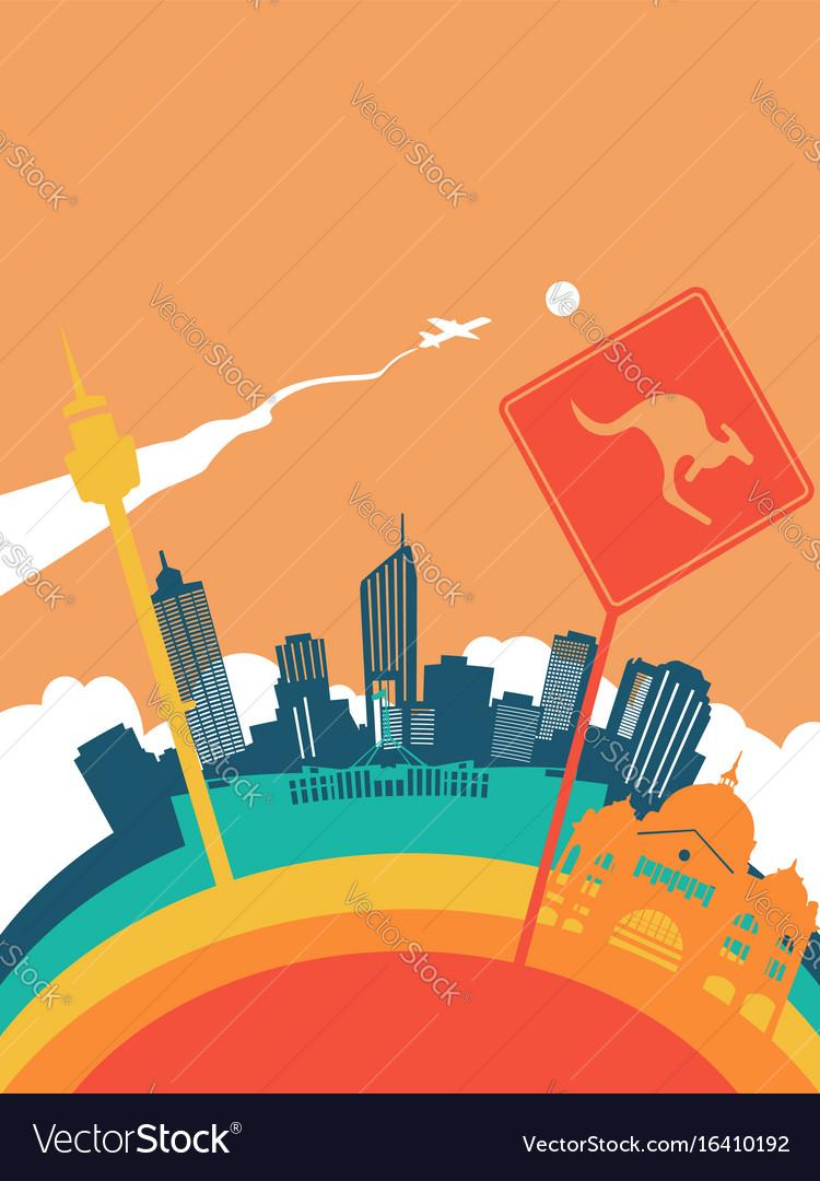 Travel australia world landmark landscape vector image