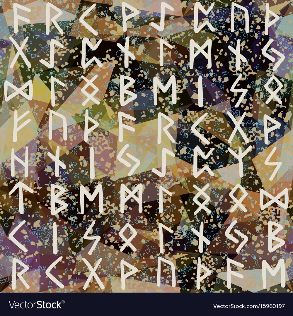 Abstract seamless pattern runes grunge texture on