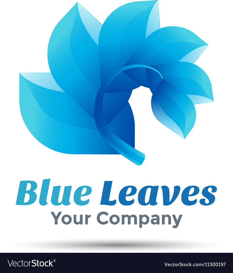 Blue leaf logo design Template for your business