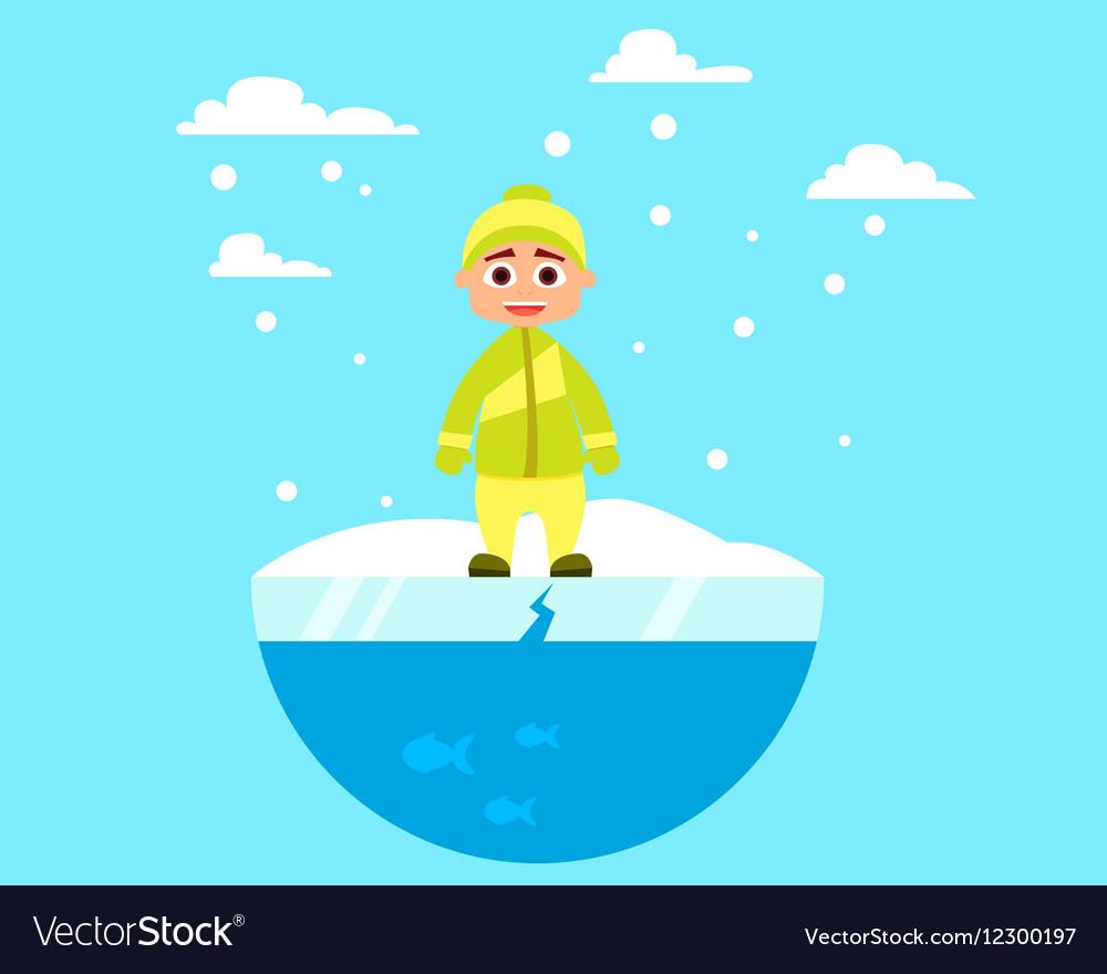 Child walking on ice vector image