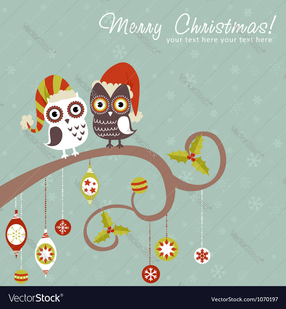 Cute winter Christmas card of owls in hats