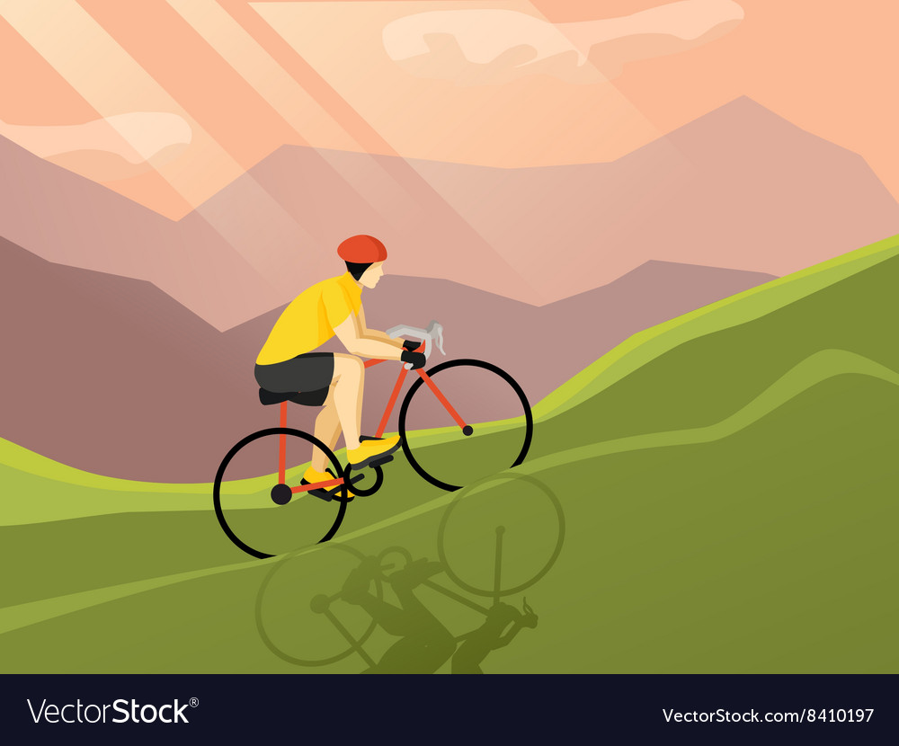 Cyclist Flat Poster vector image