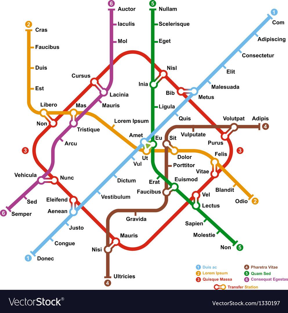 Fictional metro map vector image