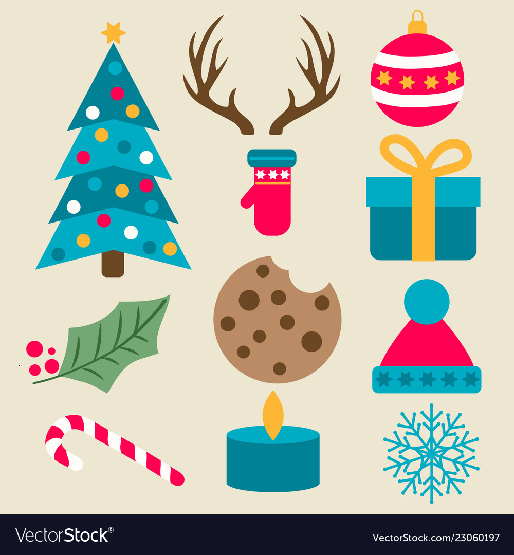 Flat design christmas items collection