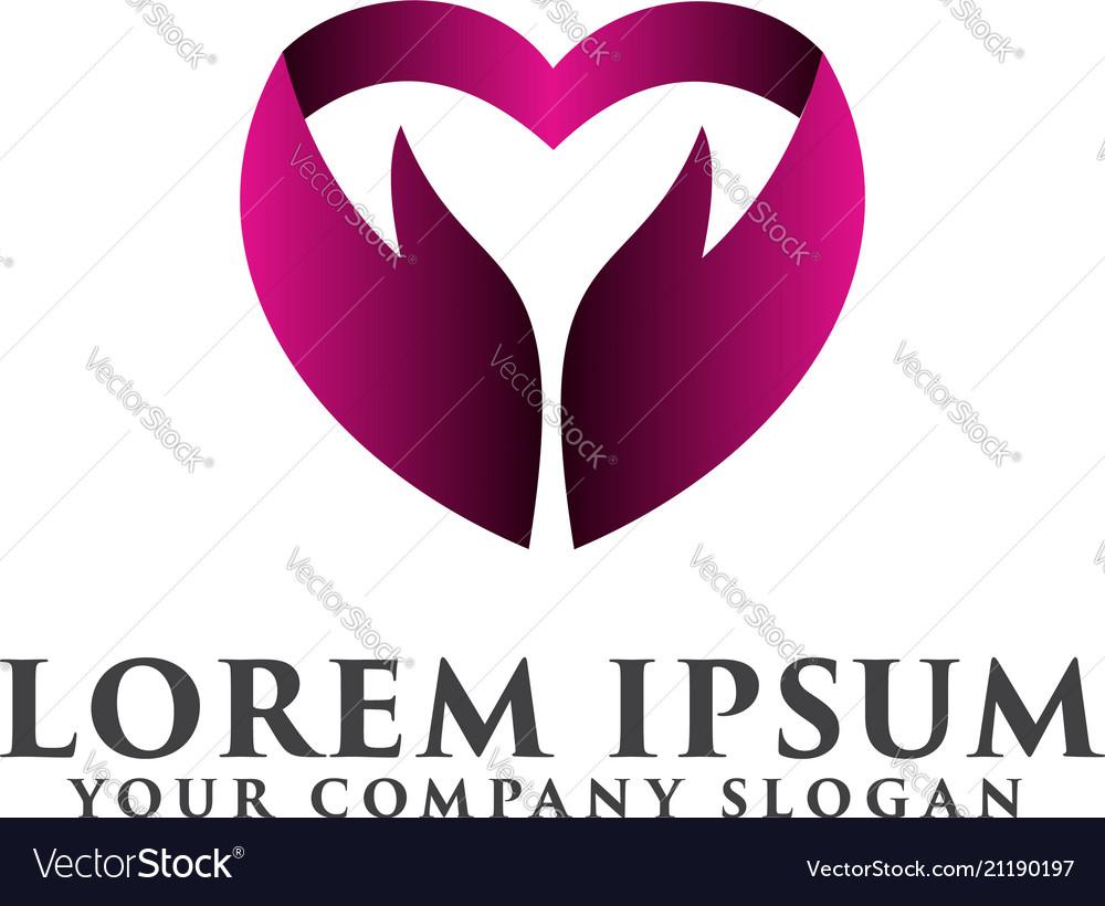 Hand love logo design concept template