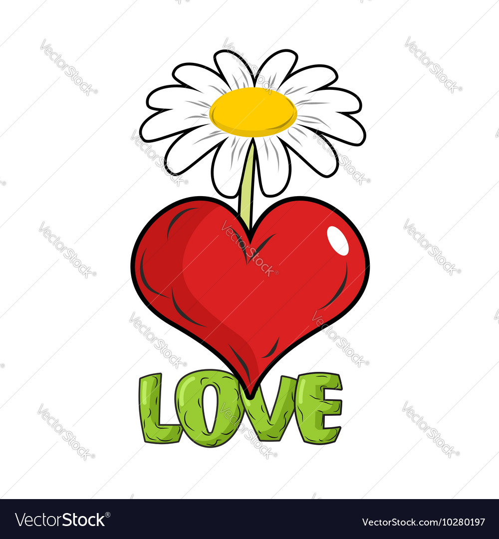 Love Red heart and flower Template for tattoos