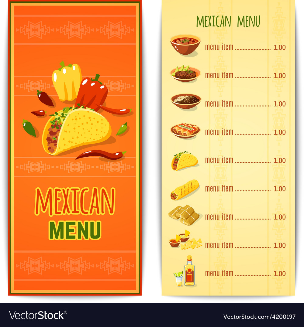 mexican food menu royalty free vector image - vectorstock