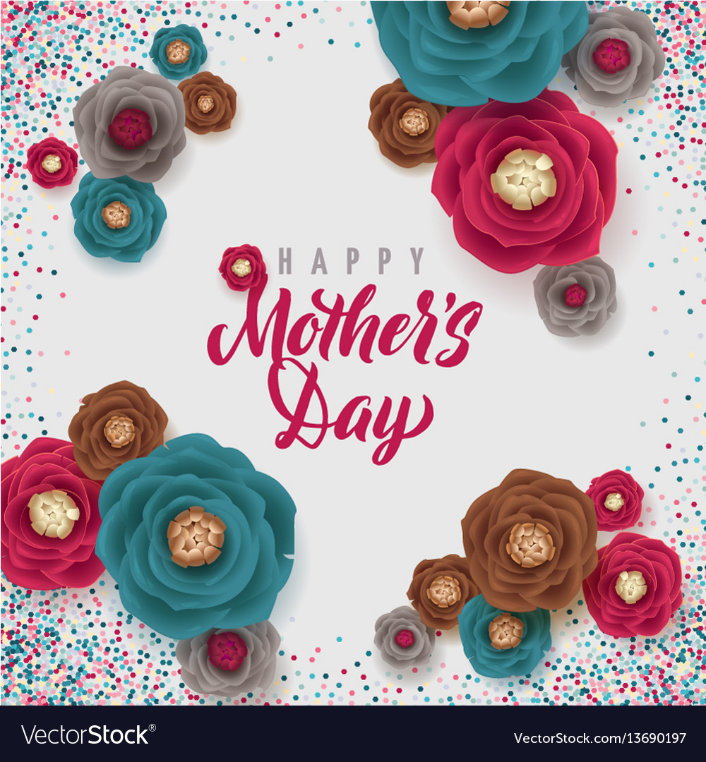 Mother s day greeting card confetti and floral