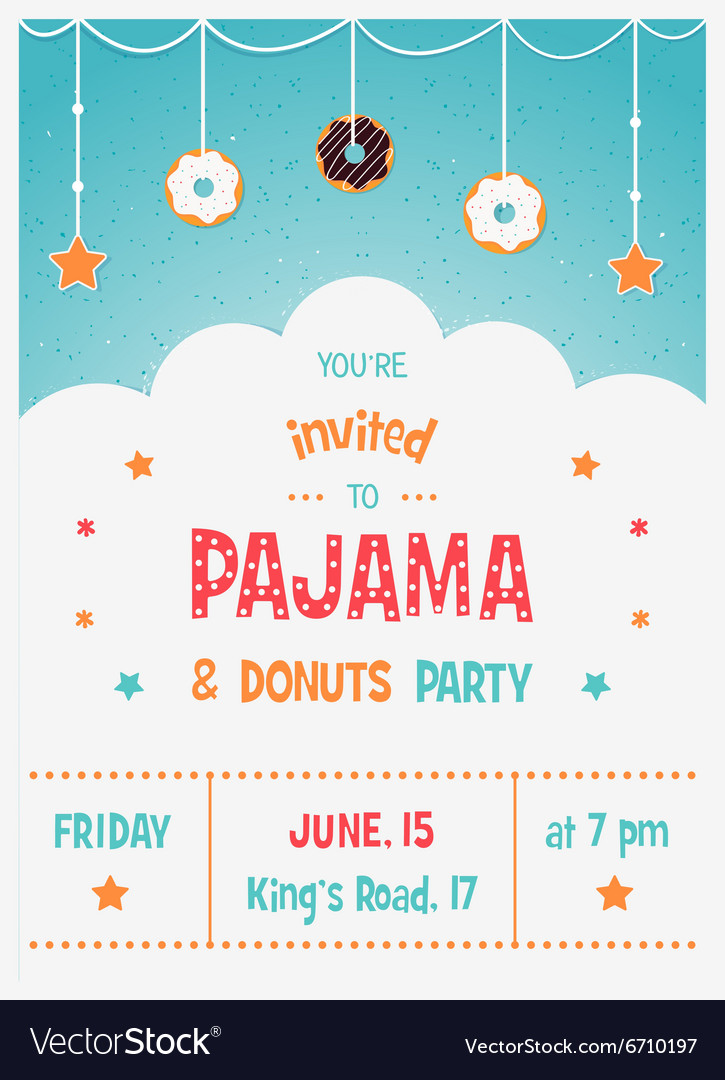 Pajama And Donuts Kids Party Invitation Template