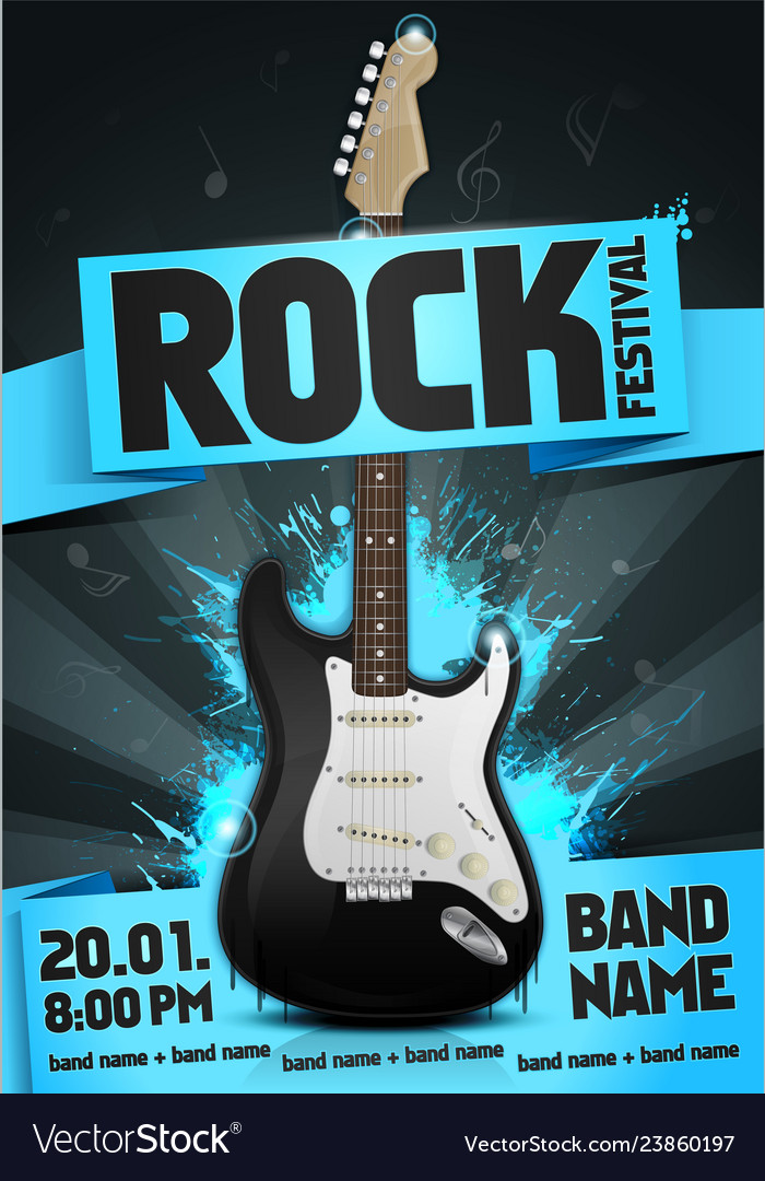 Rock festival flyer design template with guitar