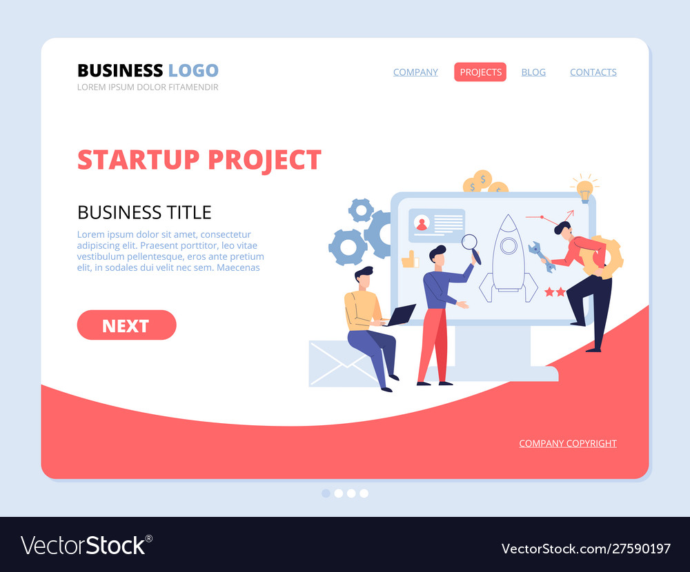 Startup project website landing page