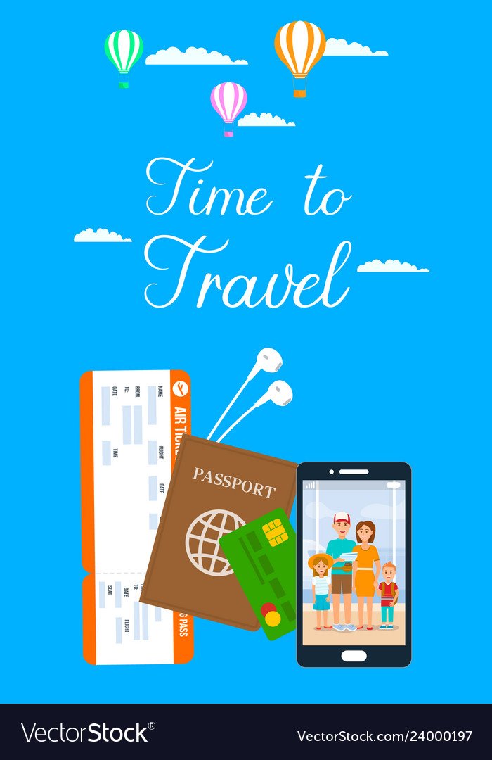 Time to travel lettering vertical flyer
